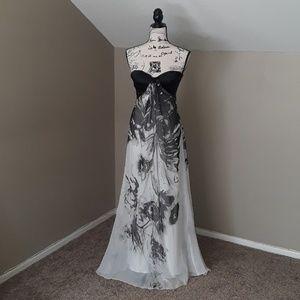 La Femme Floral Strapless Dress